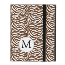 Personalized Monogram Brown Zebra Stripes iPad Folio Cases