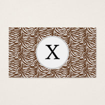 Personalized Monogram Brown Zebra Stripes pattern Business Card
