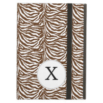 Personalized Monogram Brown Zebra Stripes pattern Case For iPad Air