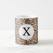 Personalized Monogram Brown Zebra Stripes pattern Coffee Mug