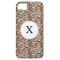 Personalized Monogram Brown Zebra Stripes pattern iPhone SE/5/5s Case