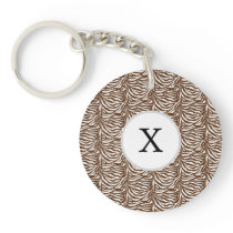 Personalized Monogram Brown Zebra Stripes pattern Keychain