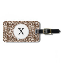 Personalized Monogram Brown Zebra Stripes pattern Luggage Tag