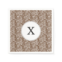 Personalized Monogram Brown Zebra Stripes pattern Paper Napkin