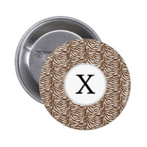 Personalized Monogram Brown Zebra Stripes pattern Pinback Button
