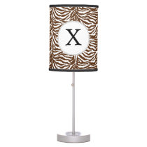 Personalized Monogram Brown Zebra Stripes pattern Table Lamp