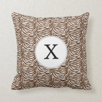 Personalized Monogram Brown Zebra Stripes pattern Throw Pillow