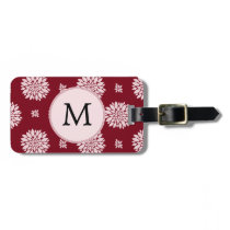 Personalized Monogram Burgundy Floral pattern Bag Tag