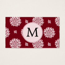 Personalized Monogram Burgundy Floral pattern Business Card
