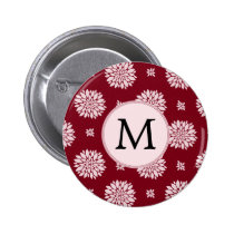 Personalized Monogram Burgundy Floral pattern Button