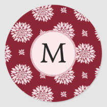 Personalized Monogram Burgundy Floral pattern Classic Round Sticker
