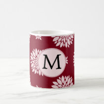 Personalized Monogram Burgundy Floral pattern Coffee Mug