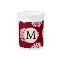 Personalized Monogram Burgundy Floral pattern Drink Pitcher