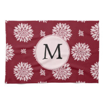 Personalized Monogram Burgundy Floral pattern Hand Towels