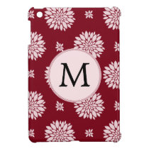 Personalized Monogram Burgundy Floral pattern iPad Mini Covers