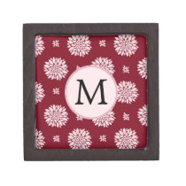Personalized Monogram Burgundy Floral pattern Jewelry Box