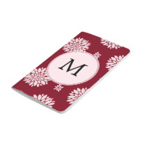 Personalized Monogram Burgundy Floral pattern Journal