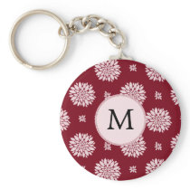 Personalized Monogram Burgundy Floral pattern Keychain