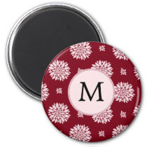 Personalized Monogram Burgundy Floral pattern Magnet