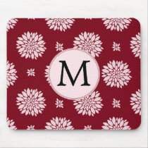Personalized Monogram Burgundy Floral pattern Mouse Pad