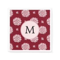 Personalized Monogram Burgundy Floral pattern Paper Napkin