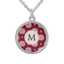 Personalized Monogram Burgundy Floral pattern Sterling Silver Necklace