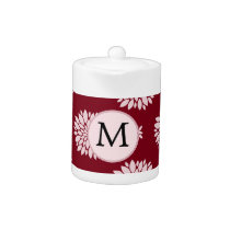 Personalized Monogram Burgundy Floral pattern Teapot