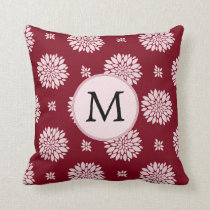 Personalized Monogram Burgundy Floral pattern Throw Pillow