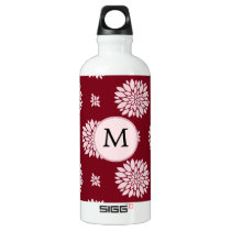 Personalized Monogram Burgundy Floral pattern Water Bottle