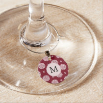 Personalized Monogram Burgundy Floral pattern Wine Glass Charm