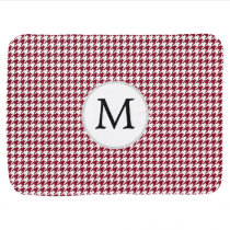 Personalized Monogram Burgundy Houndstooth Pattern Baby Blanket