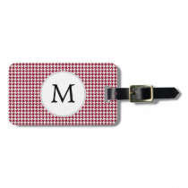 Personalized Monogram Burgundy Houndstooth Pattern Bag Tag