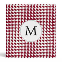 Personalized Monogram Burgundy Houndstooth Pattern Binder