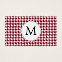 Personalized Monogram Burgundy Houndstooth Pattern Business Card