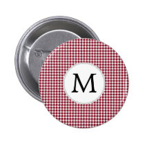 Personalized Monogram Burgundy Houndstooth Pattern Button