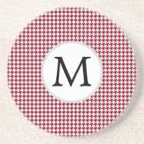 Personalized Monogram Burgundy Houndstooth Pattern Coaster