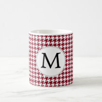 Personalized Monogram Burgundy Houndstooth Pattern Coffee Mug