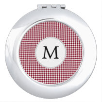Personalized Monogram Burgundy Houndstooth Pattern Compact Mirror