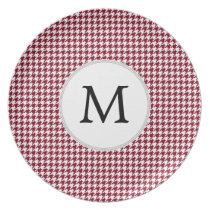 Personalized Monogram Burgundy Houndstooth Pattern Dinner Plate