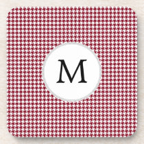 Personalized Monogram Burgundy Houndstooth Pattern Drink Coaster