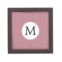 Personalized Monogram Burgundy Houndstooth Pattern Gift Box