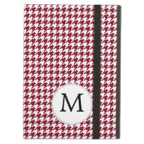 Personalized Monogram Burgundy Houndstooth Pattern iPad Air Covers
