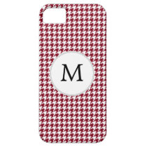 Personalized Monogram Burgundy Houndstooth Pattern iPhone SE/5/5s Case