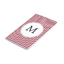 Personalized Monogram Burgundy Houndstooth Pattern Journal