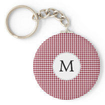 Personalized Monogram Burgundy Houndstooth Pattern Keychain
