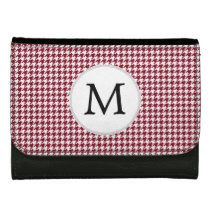 Personalized Monogram Burgundy Houndstooth Pattern Leather Wallet For Women