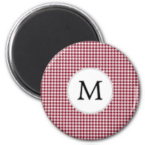Personalized Monogram Burgundy Houndstooth Pattern Magnet
