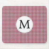 Personalized Monogram Burgundy Houndstooth Pattern Mouse Pad