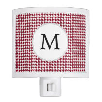 Personalized Monogram Burgundy Houndstooth Pattern Night Light