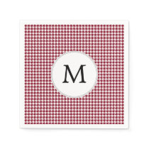 Personalized Monogram Burgundy Houndstooth Pattern Paper Napkin